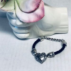 Brighton Braided Leather Silver Heart Bracelet